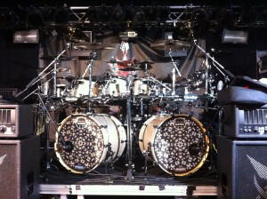 Tony MacAlpine's 2012 European Tour features Aqulies Priester on drums. Here's his beautiful kit, courtesy of Mapex, Paiste, Gibraltar, and DW. I get to play this kit for the tour, but I also have to tech it - a fair trade!